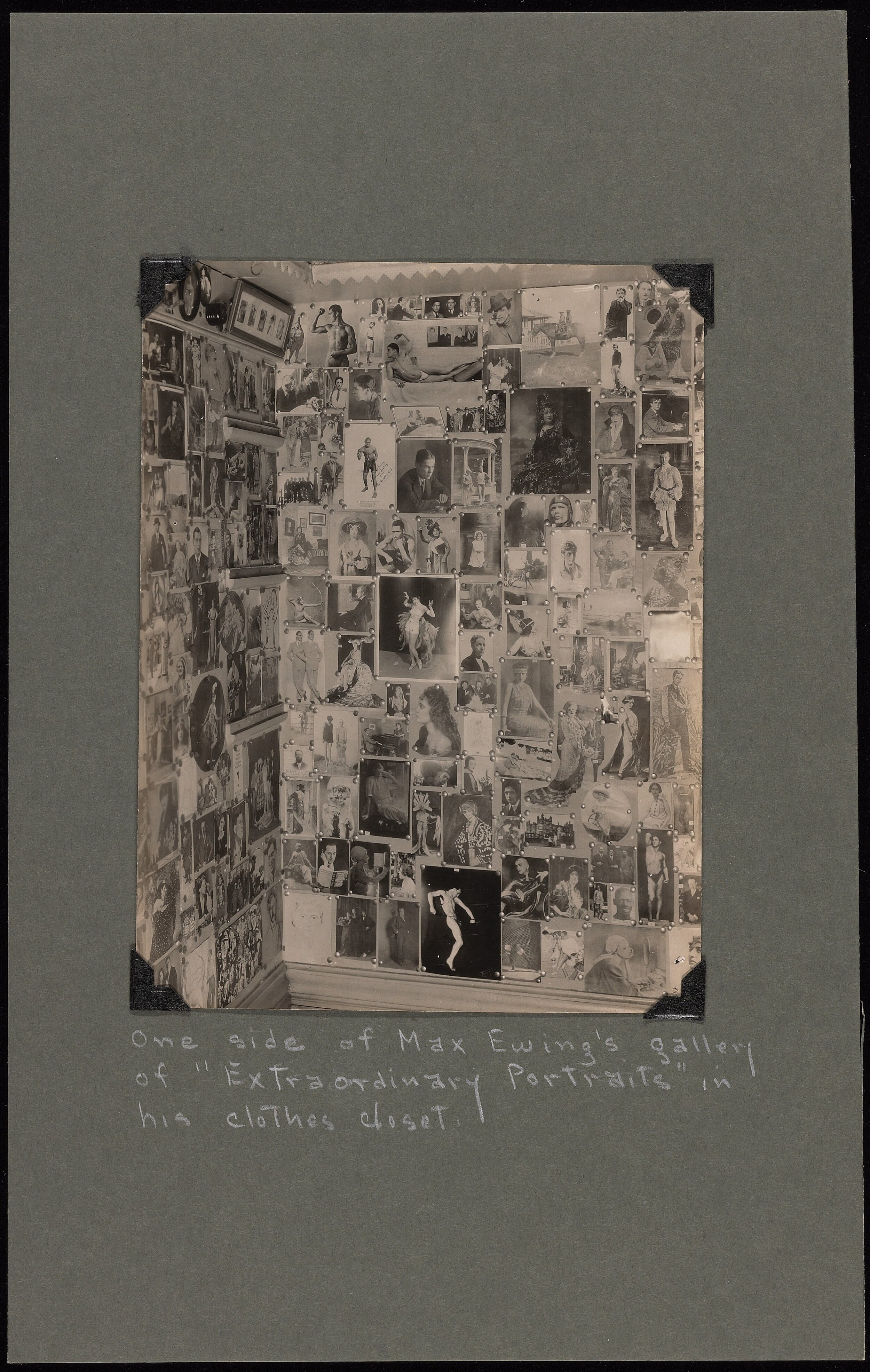 """Figure 1. Max Ewing, Photograph of One Side of Max Ewing's 'Gallery of Extraordinary Portraits"""" in His Clothes Closet, 1928 or 1929. Courtesy: Beinecke Rare Book and Manuscript Library, Yale University, by permission of Wallace Ewing."""