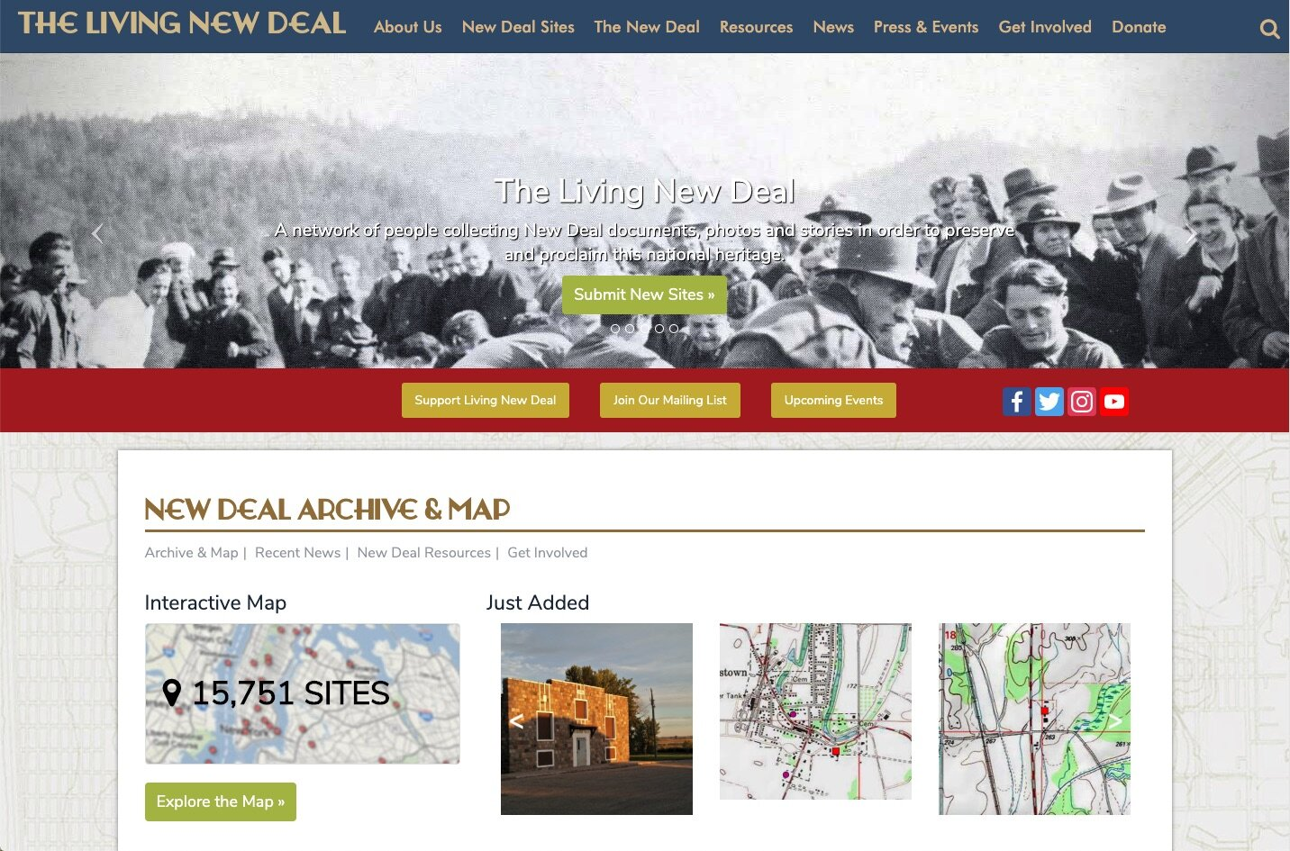 Screenshot 2. The Living New Deal home page, 2019.