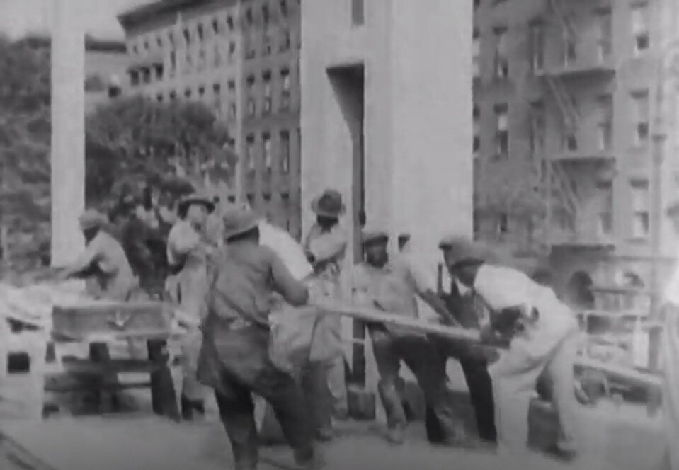 Screenshot 3. African American construction workers at Colonial Park Pool.  A Better New York City , 1937, Federal Works Agency, Works Progress Administration, National Archives.