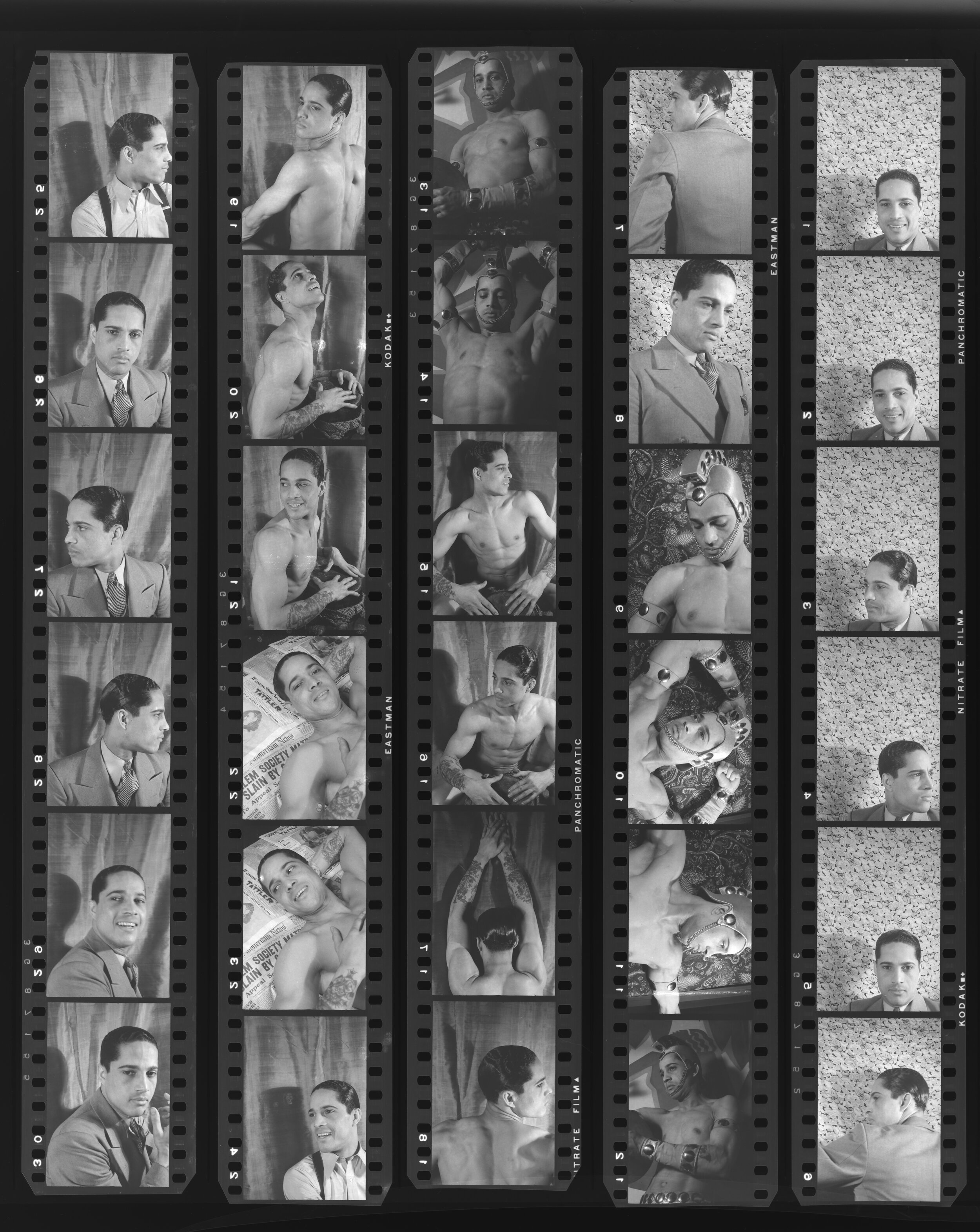 Figure 3. Carl Van Vechten,  Contact sheet of portraits of Paul Meeres, April 1, 1932 . Courtesy: Beinecke Rare Book and Manuscript Library, Yale University, by permission of the Carl Van Vechten Trust.
