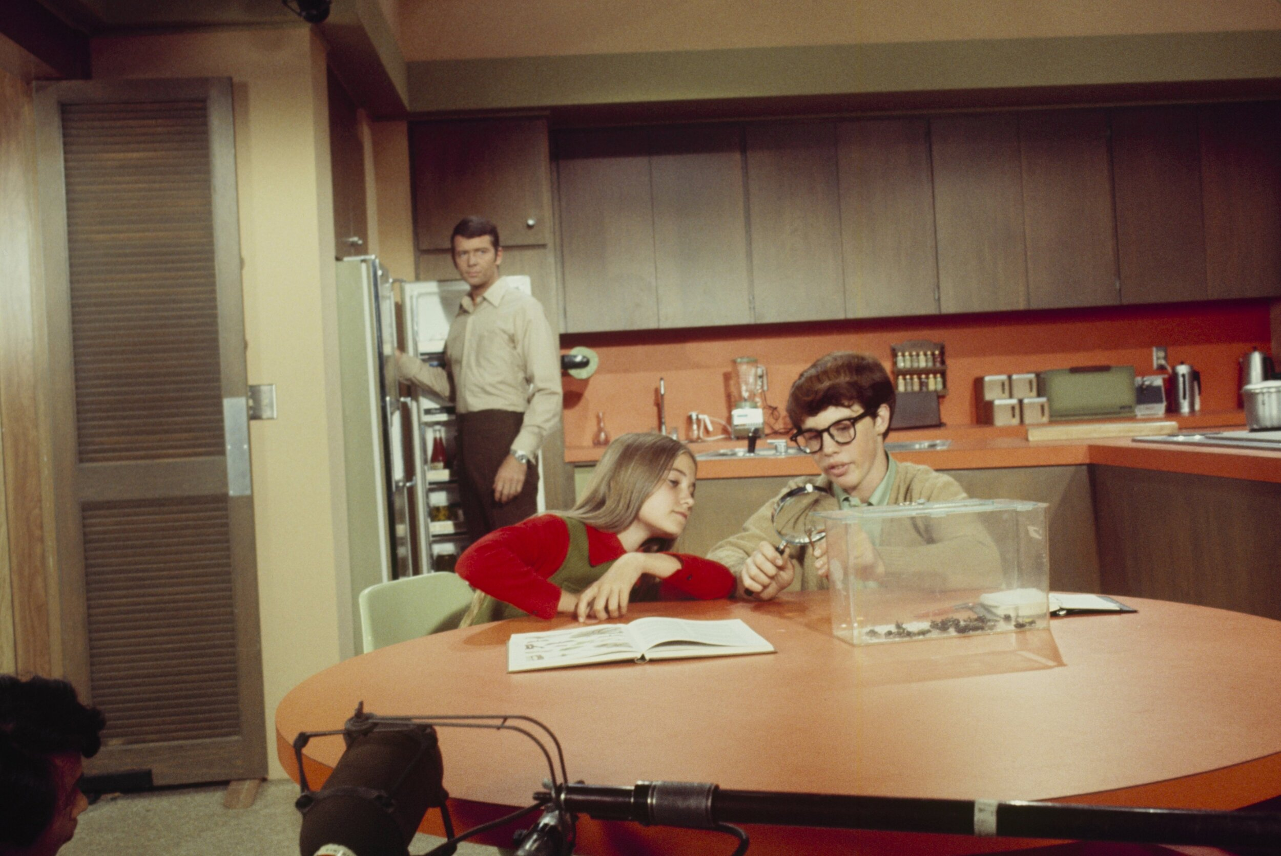 """Figure 2. The Brady family (Robert Reed, Maureen McCormick, Rory Stevens) in their kitchen. """"Going Going Steady,""""  The Brady Bunch , season 2, episode 5, ABC Television, Oct. 23, 1970. Photograph by Walt Disney Television via Getty Images Photo Archives."""