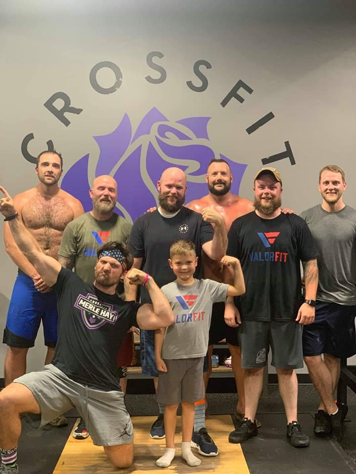 Meet Andrew (center, black shirt). Andrew was referred to ValorFit by the Department of Veterans Affairs because he was missing the connections he once had, we will help with that. Some of the CrossFit Merle Hay veterans helped us introduce Andrew into his first class last night, it was a good time. Veterans want to be a part of a team again and be involved with their community, but sometimes anxiety hinders that. So we will do things together, because that's how progress is made and barriers are broken down. Thank you to CrossFit Merle Hay for your continued support of all things ValorFit. Welcome Home Andrew. Stronger Together.  #valorfit
