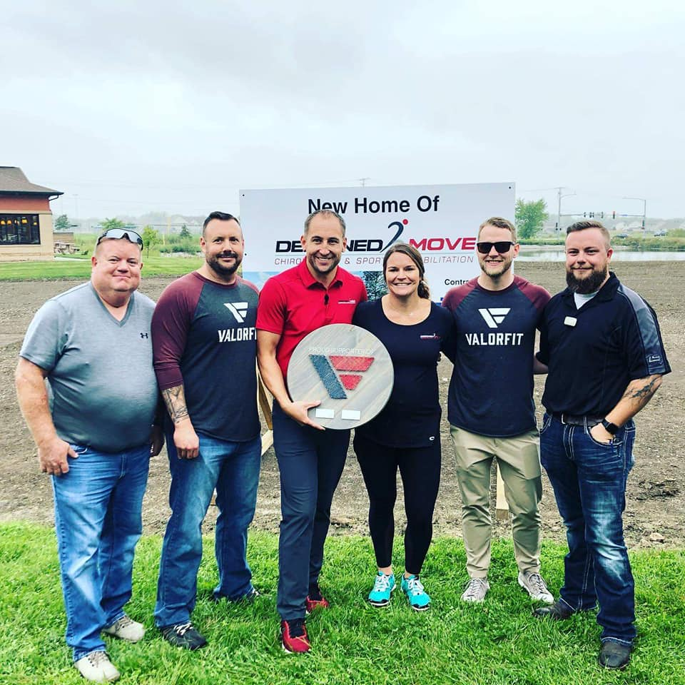 Yesterday some of us had the honor of attending the Designed 2 Move Chiropractic groundbreaking ceremony in Ankeny and present them with a token of our appreciation made by Joslyn Kent and The Farmer's Daughter Studio..  Why is this an honor? Aaron and Abbi Rickelman donate their services to ValorFit veterans. What they provide as far as physical wellness is second to none, but it is also in the way that they do it. They are kind. They listen. They motivate, and they help lead veterans to a better way of thinking. The combination of all of these things is saving lives then improving them.  Take a bow Rickelman's. What you have done and continue to do is a beautiful thing.  Stronger Together.  #valorfit
