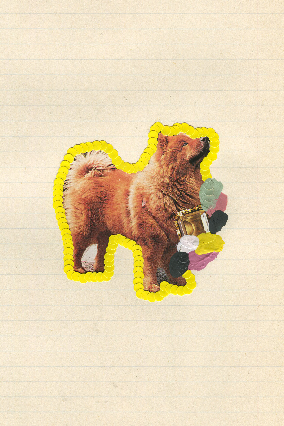 First Place Fluffy Puppy #5, 2017, collage, found paper, stickers, acrylic paint