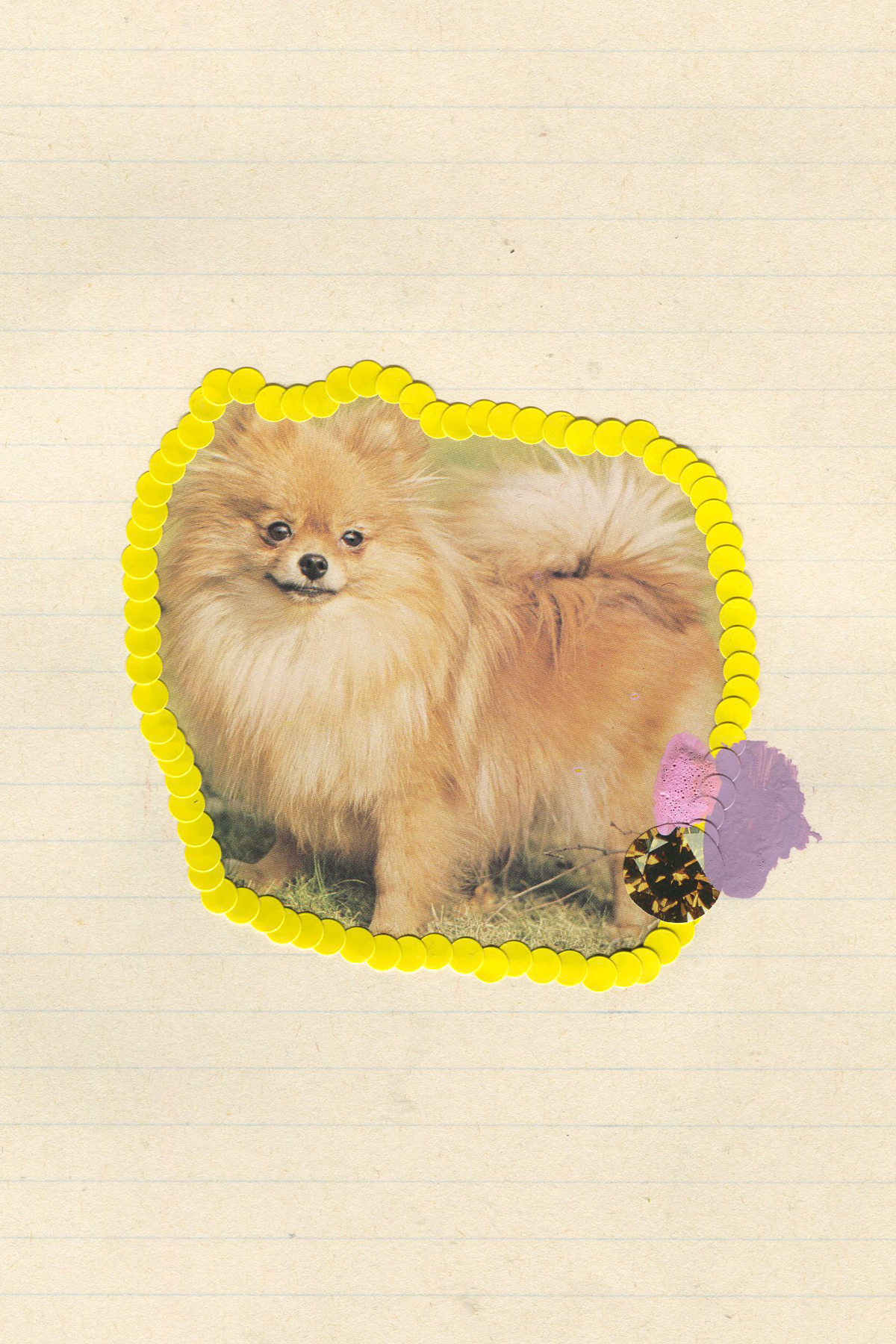 First Place Fluffy Puppy #4, 2017, collage, found paper, stickers, acrylic paint