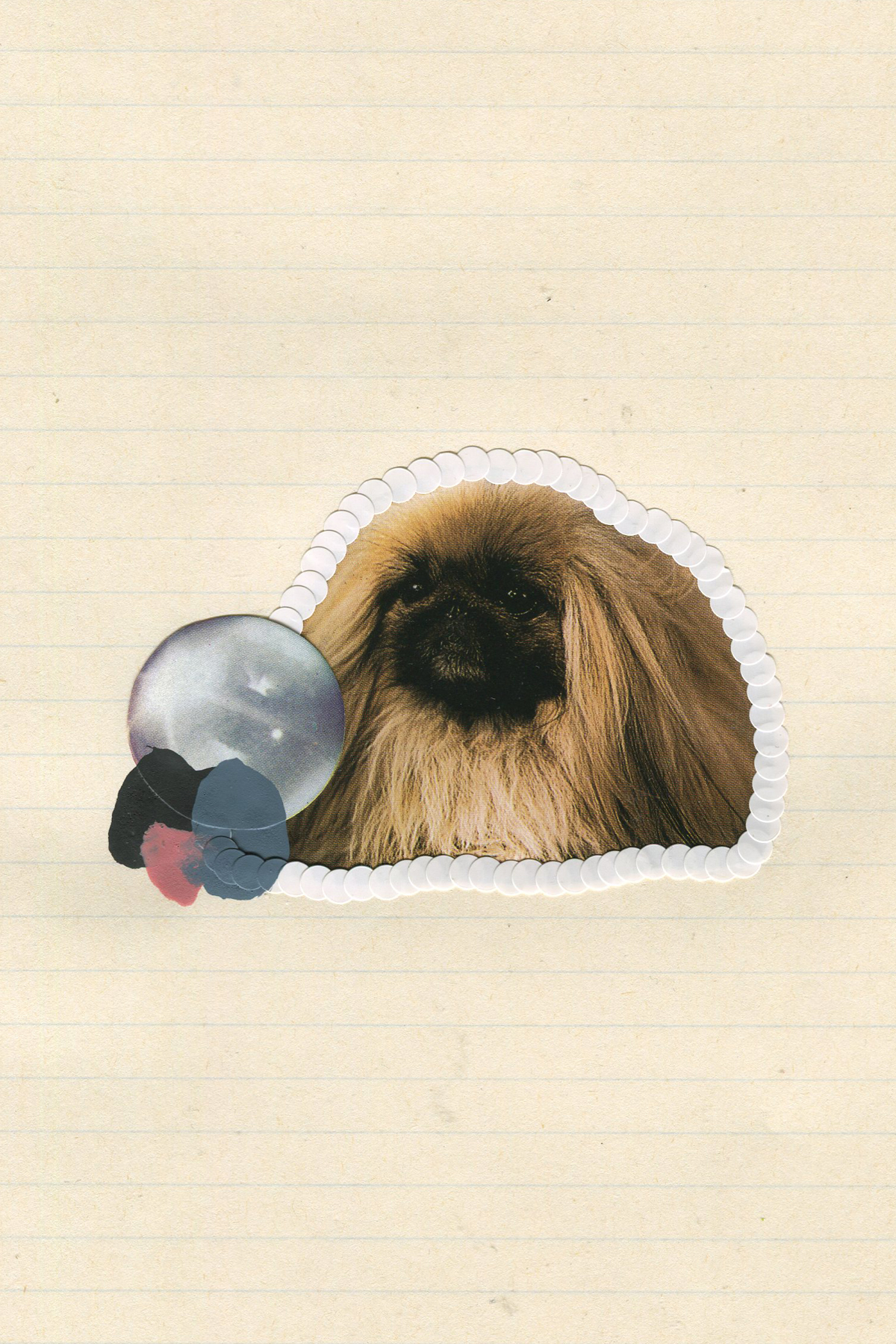 First Place Fluffy Puppy #7, 2017, collage, found paper, stickers, acrylic paint
