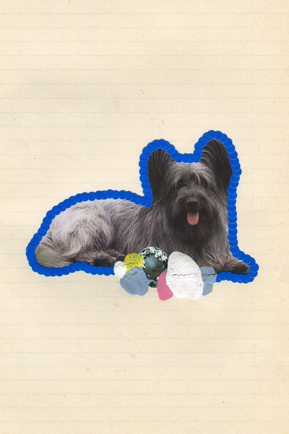 First Place Fluffy Puppy #3, 2017, collage, found paper, stickers, acrylic paint