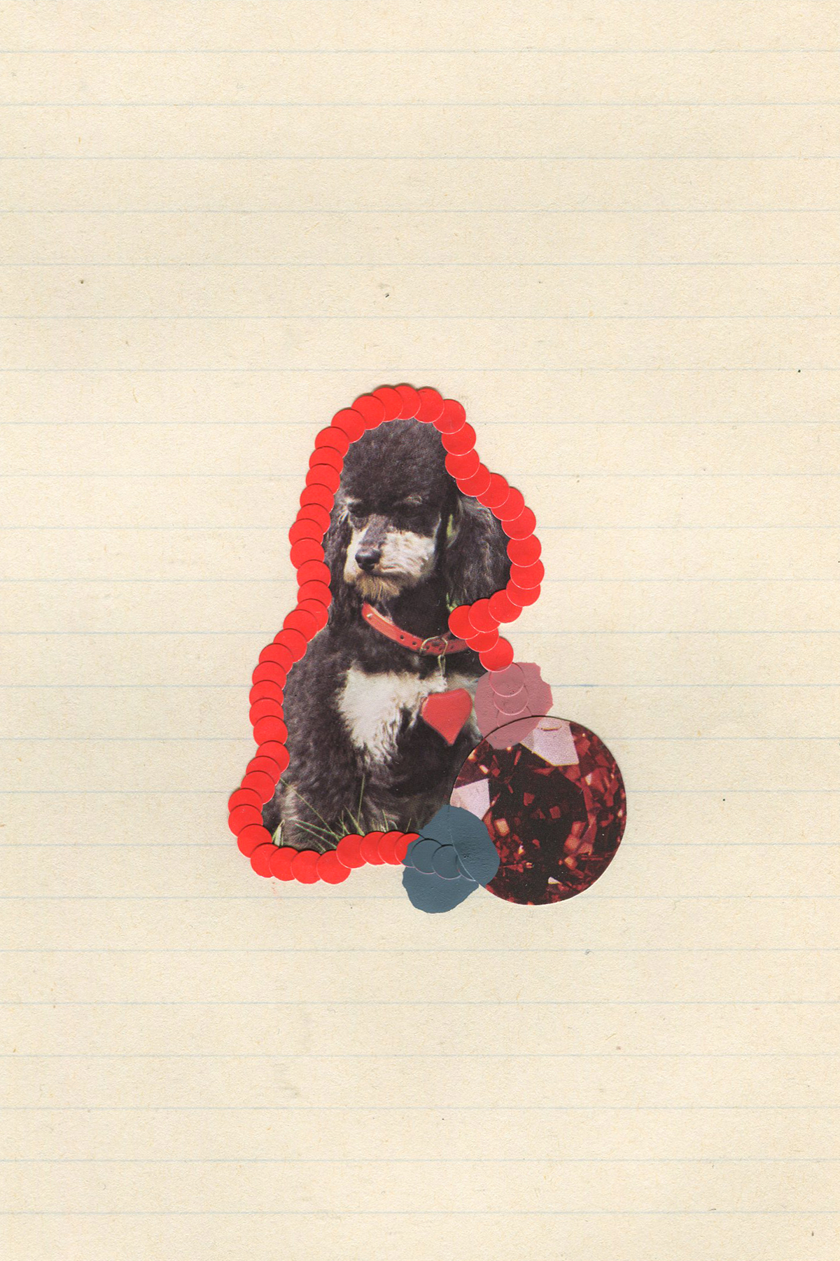 First Place Fluffy Puppy #1, 2017, collage, found paper, stickers, acrylic paint