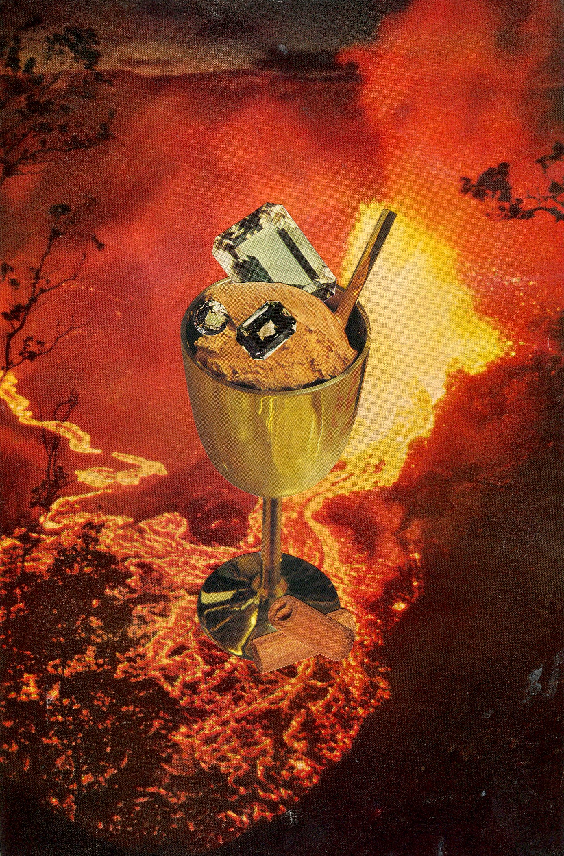 Hot Choc Fudge Sundae Mirage, 2017, collage, found paper, 170mm x 255mm