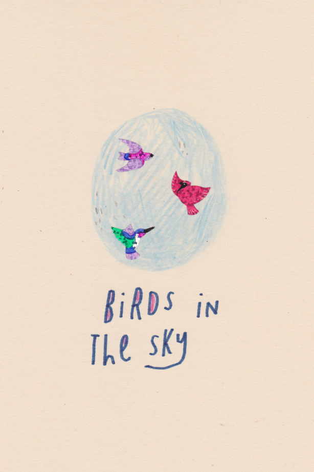 Birds in the Sky, 2012, collage, found paper, stickers, felt marker, pencil
