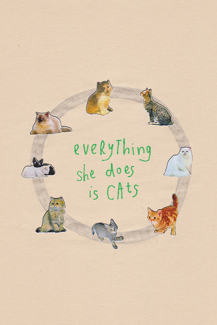 Everything She Does is Cats, 2012, collage, found paper, stickers, felt marker, pencil