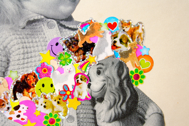 Dog Person (detail), 2013, collage, found paper, stickers