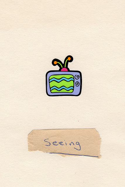 Seeing, 2012, collage, found paper, sticker