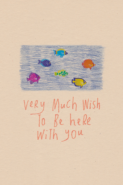 Very Much Wish To Be Here With You, 2012, collage, found paper, stickers, felt marker, pencil