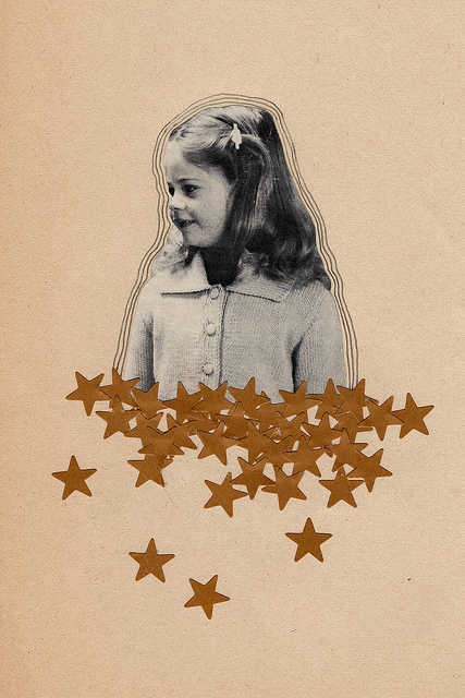 Stars, 2012, collage, found paper, stickers, pencil