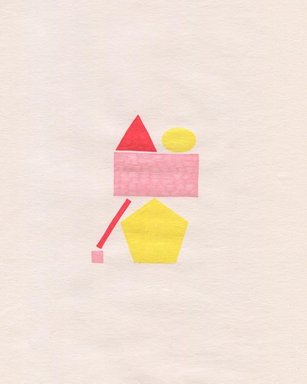 Shapes Stack, 2019, drawing, gel pen, children's scrapbook paper