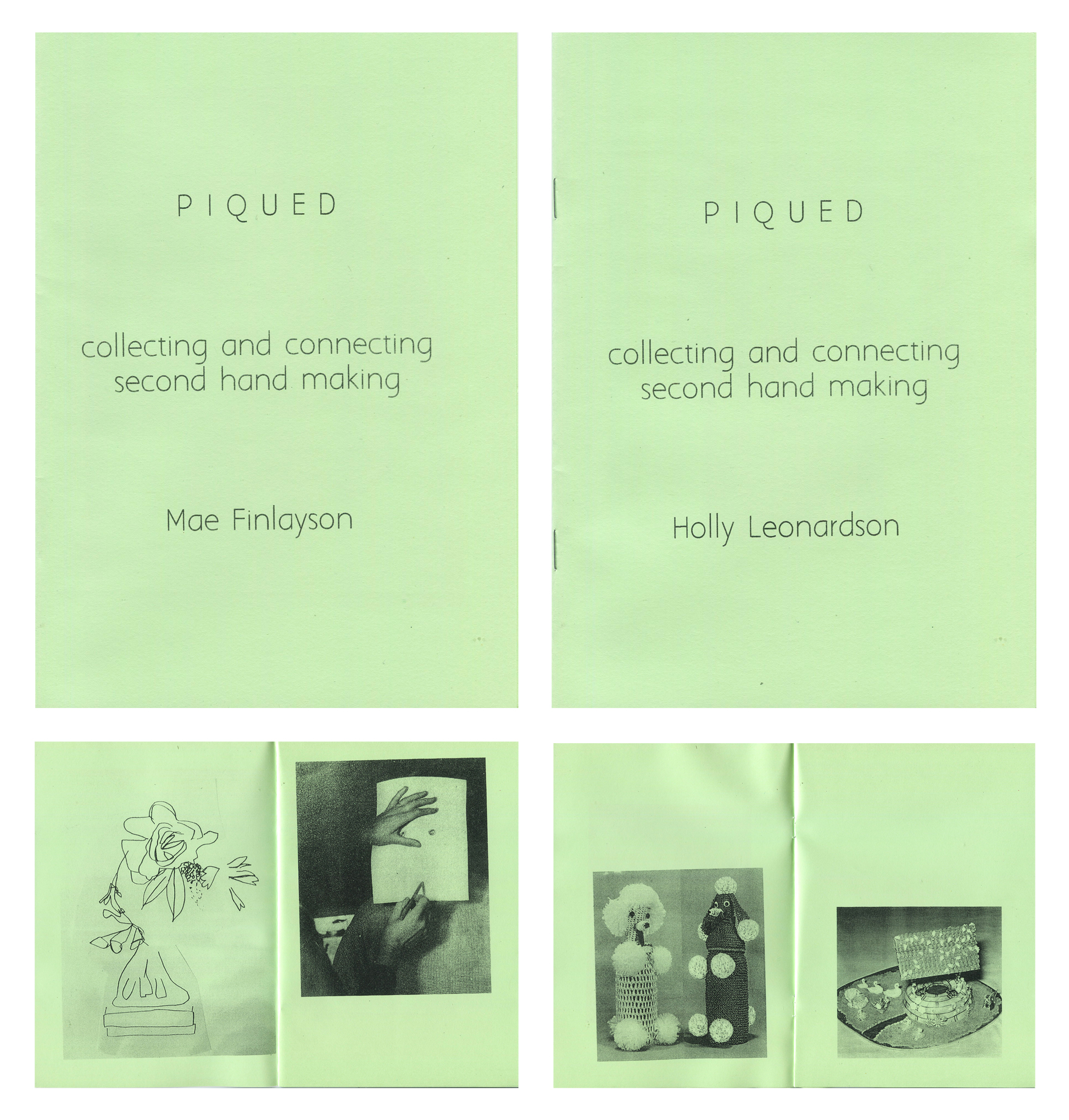 Piqued: Collecting and Connecting Second Hand Making, split zine for the Craft Conference Zine Library curated by Sophia Cai