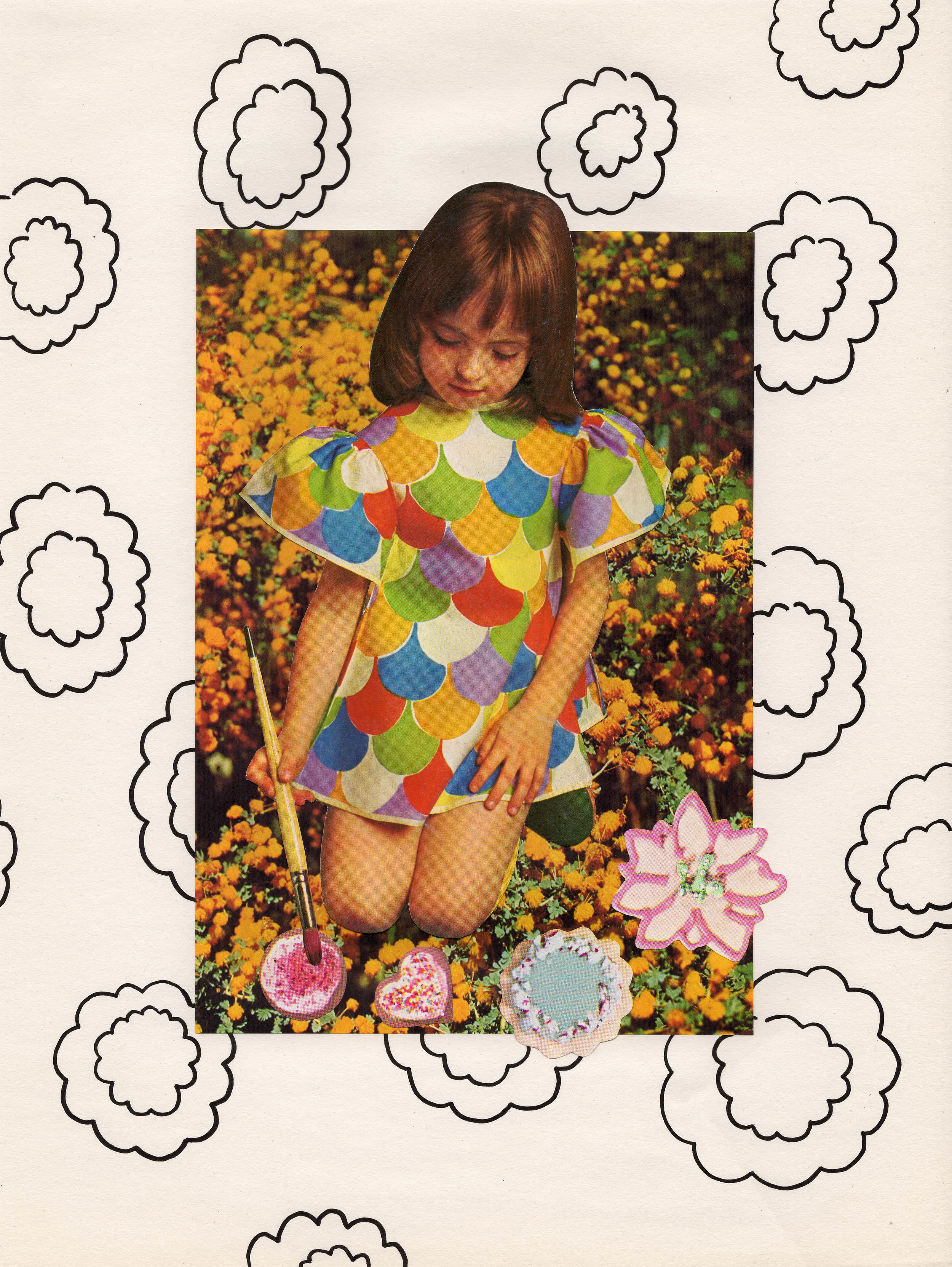 In Your Flower Garden, 2015, collage, found paper, acrylic marker