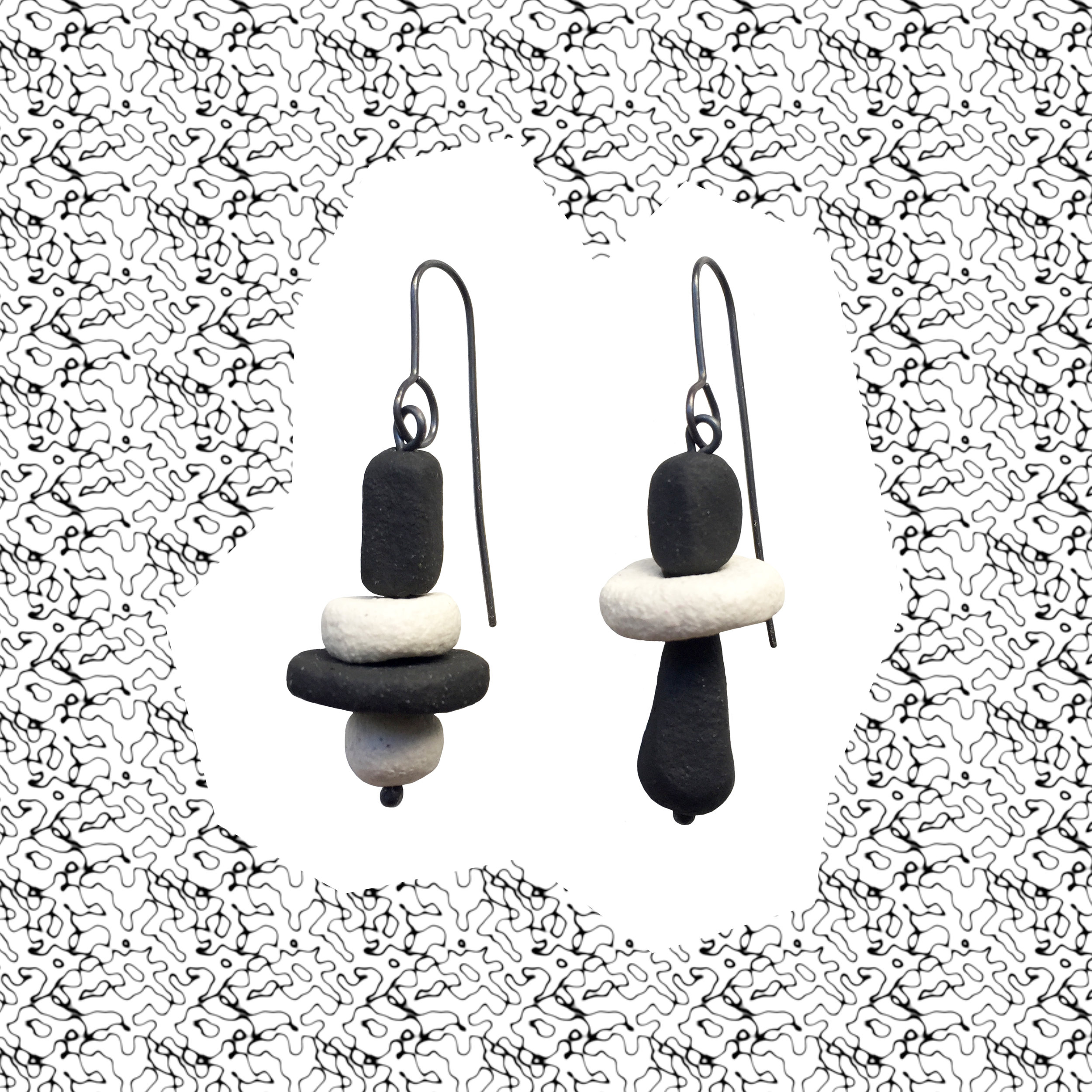 #19, ceramic beads (clay, matte black underglaze), oxidised sterling silver, 70mm x 20mm