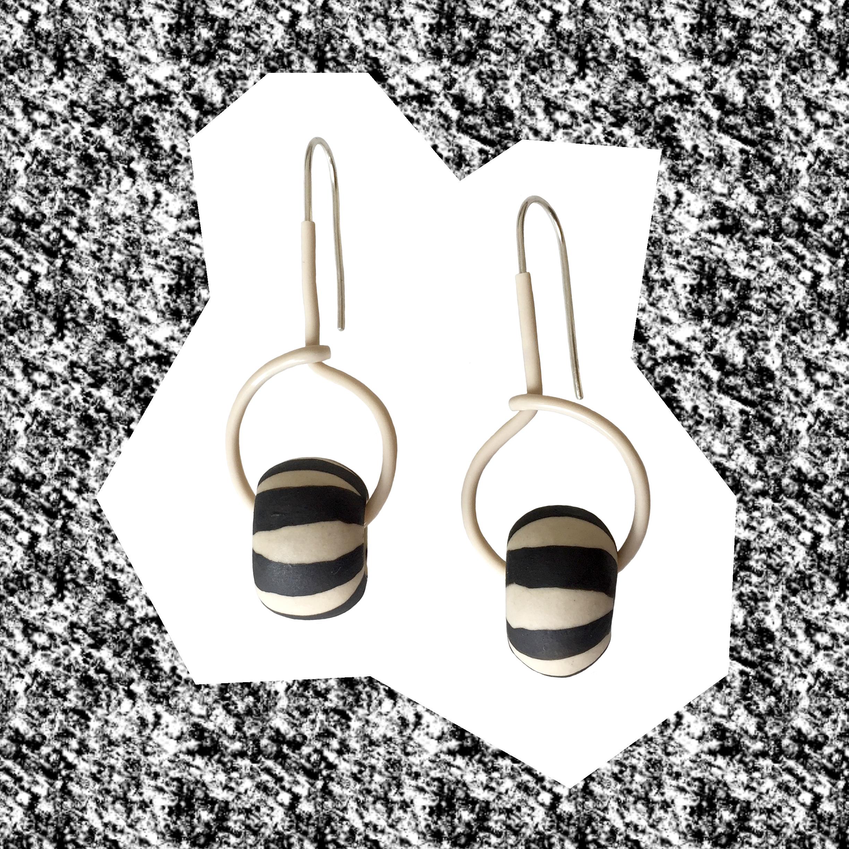 #24, handmade ceramic beads, plastic tubing, sterling silver, 57mm x 28mm