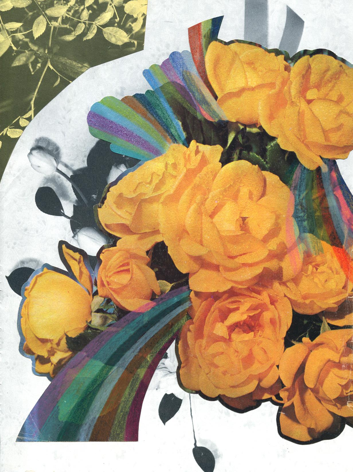 Rainbow Rose Garden #4, collage, found paper, pencil