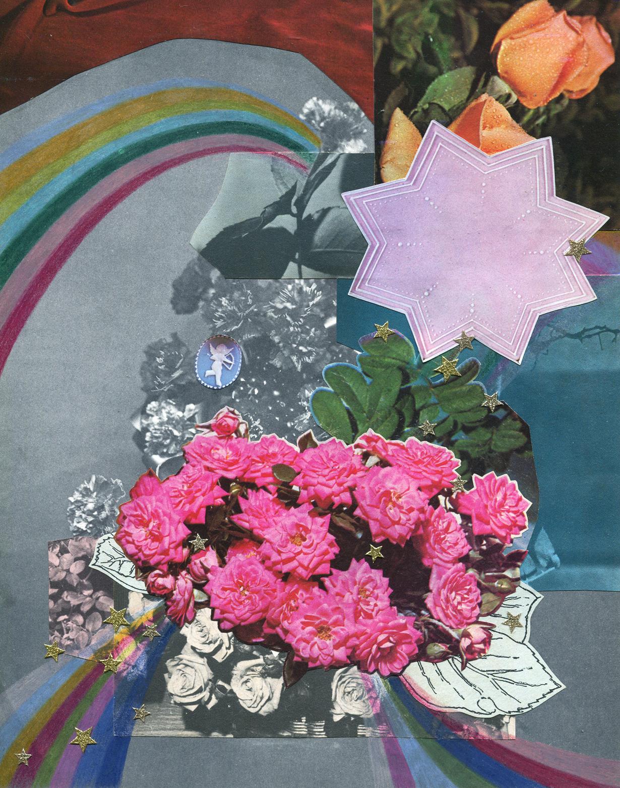 Rainbow Rose Garden #3, collage, found paper, pencil