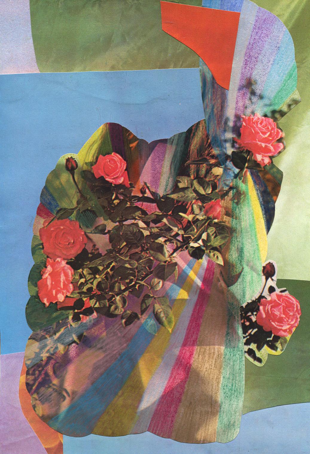 Rainbow Rose Garden #2, collage, found paper, pencil
