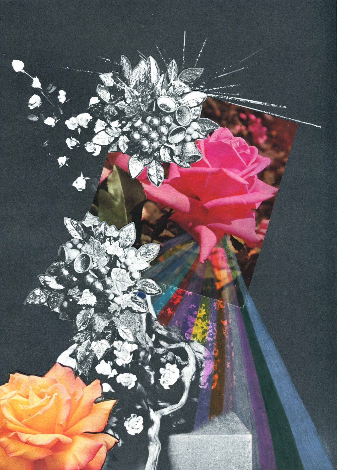Rainbow Rose Garden #6, collage, found paper, pencil