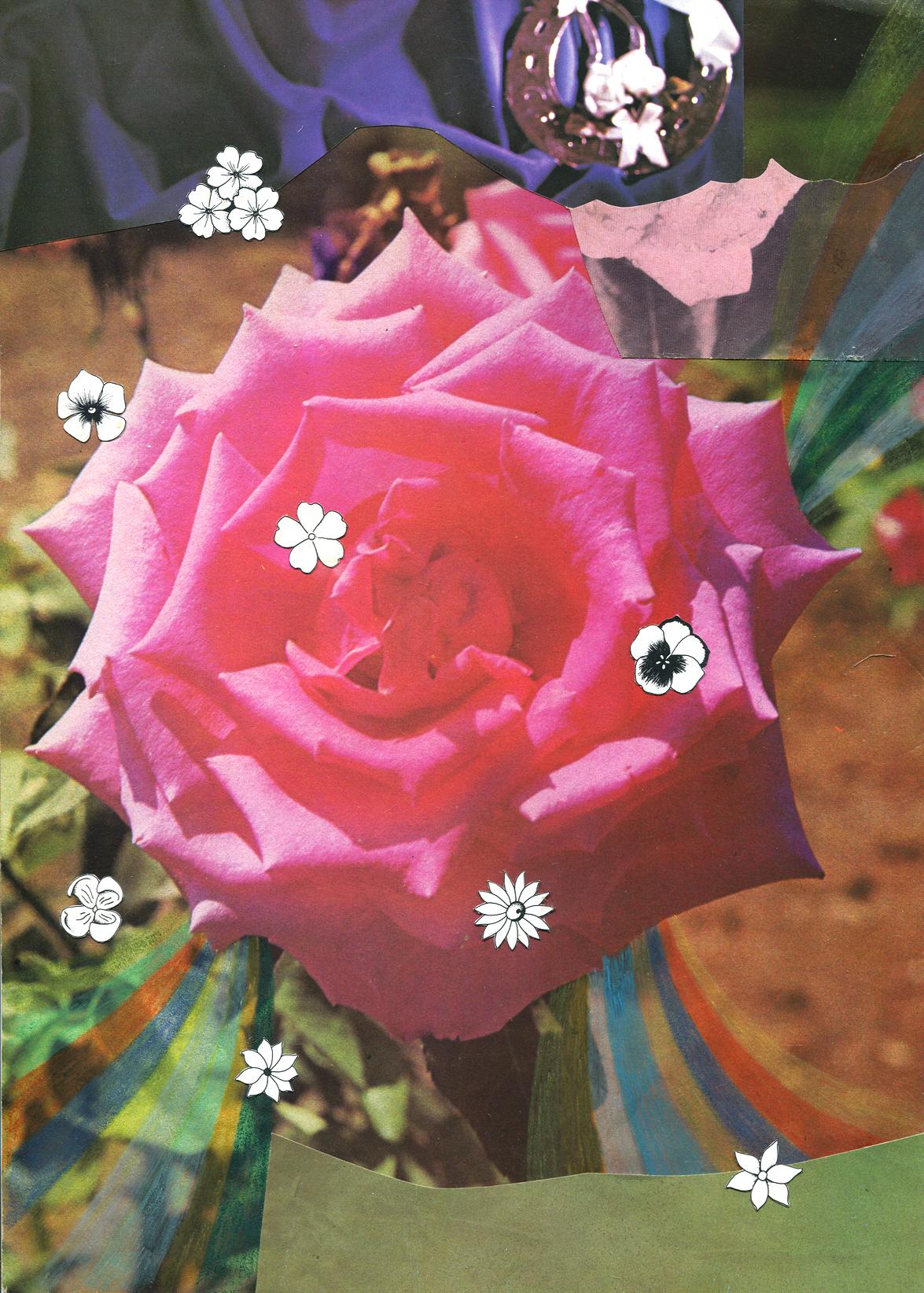 Rainbow Rose Garden #1, collage, found paper, pencil