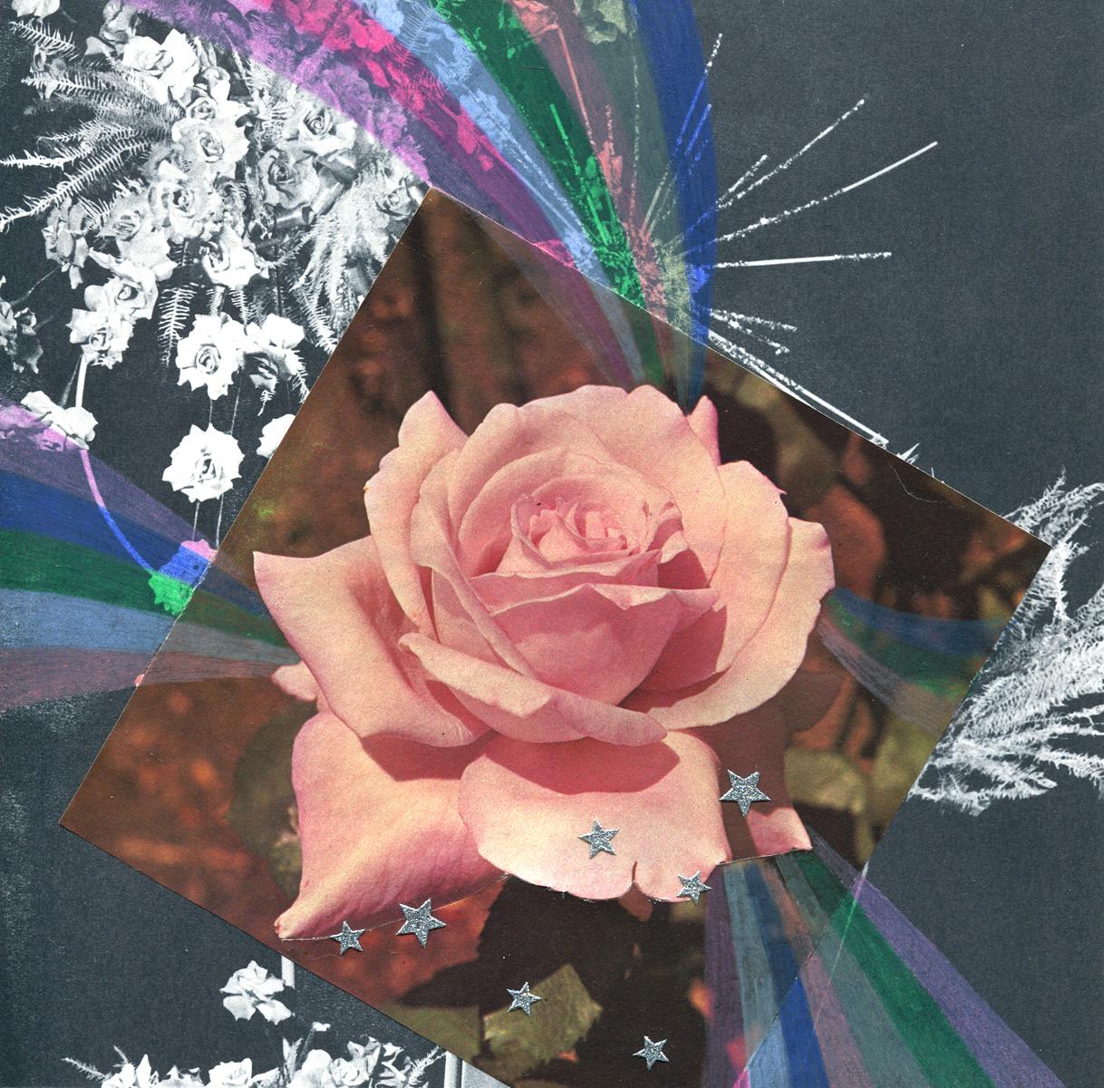 Rainbow Rose Garden #7, collage, found paper, pencil