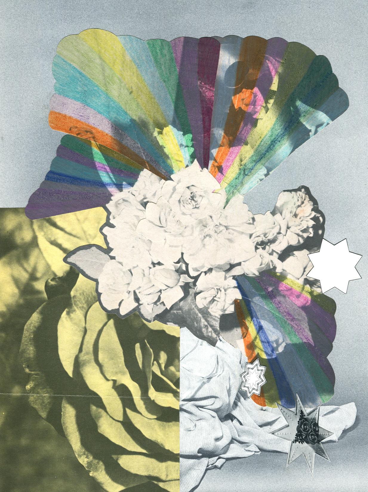Rainbow Rose Garden #5, collage, found paper, pencil