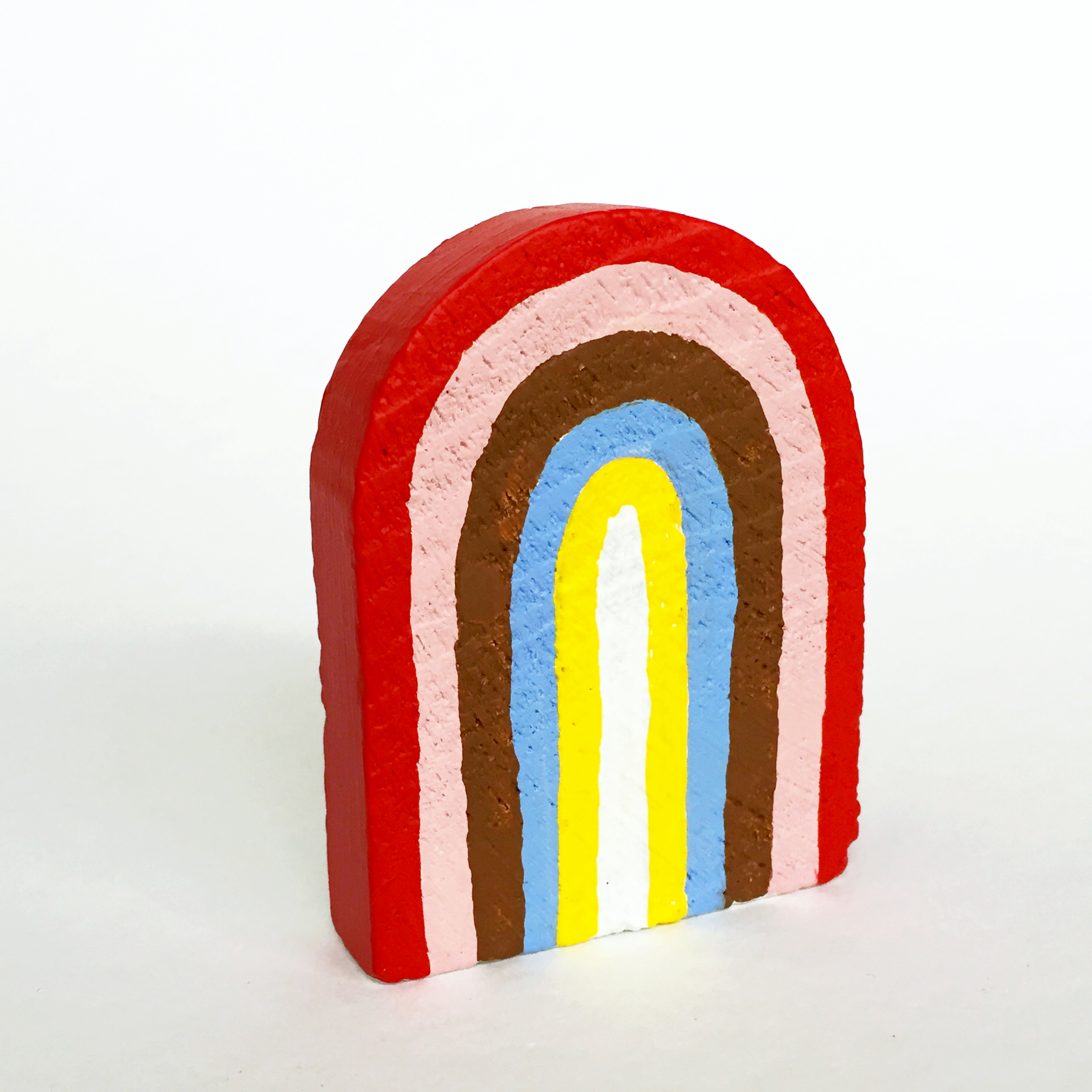 Rainbow #2, 2019, small object, found wood shape, acrylic paint, 65mm x 50mm