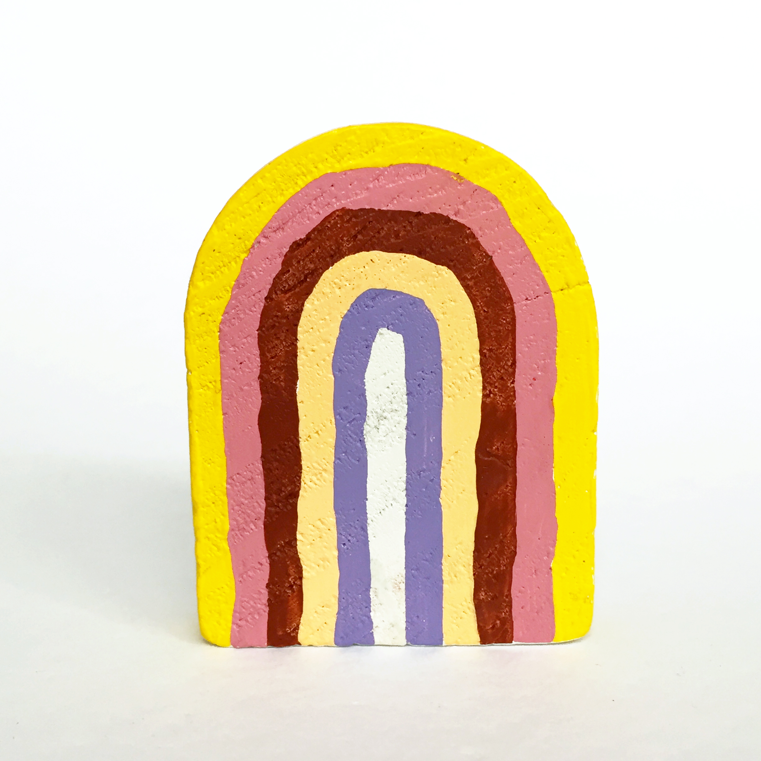 Rainbow #6, 2019, small object, found wood shape, acrylic paint, 65mm x 50mm