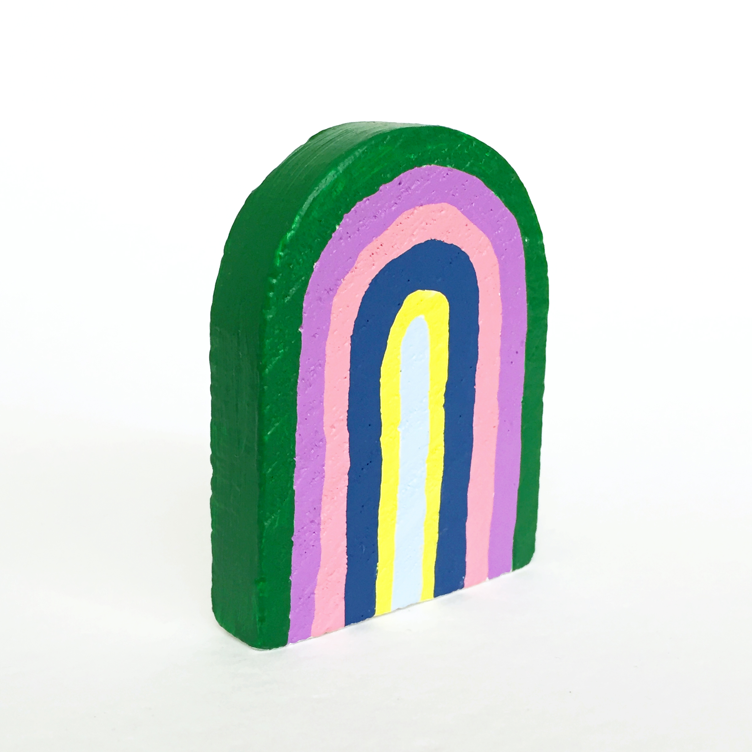 Rainbow #8, 2019, small object, found wood shape, acrylic paint, 65mm x 50mm