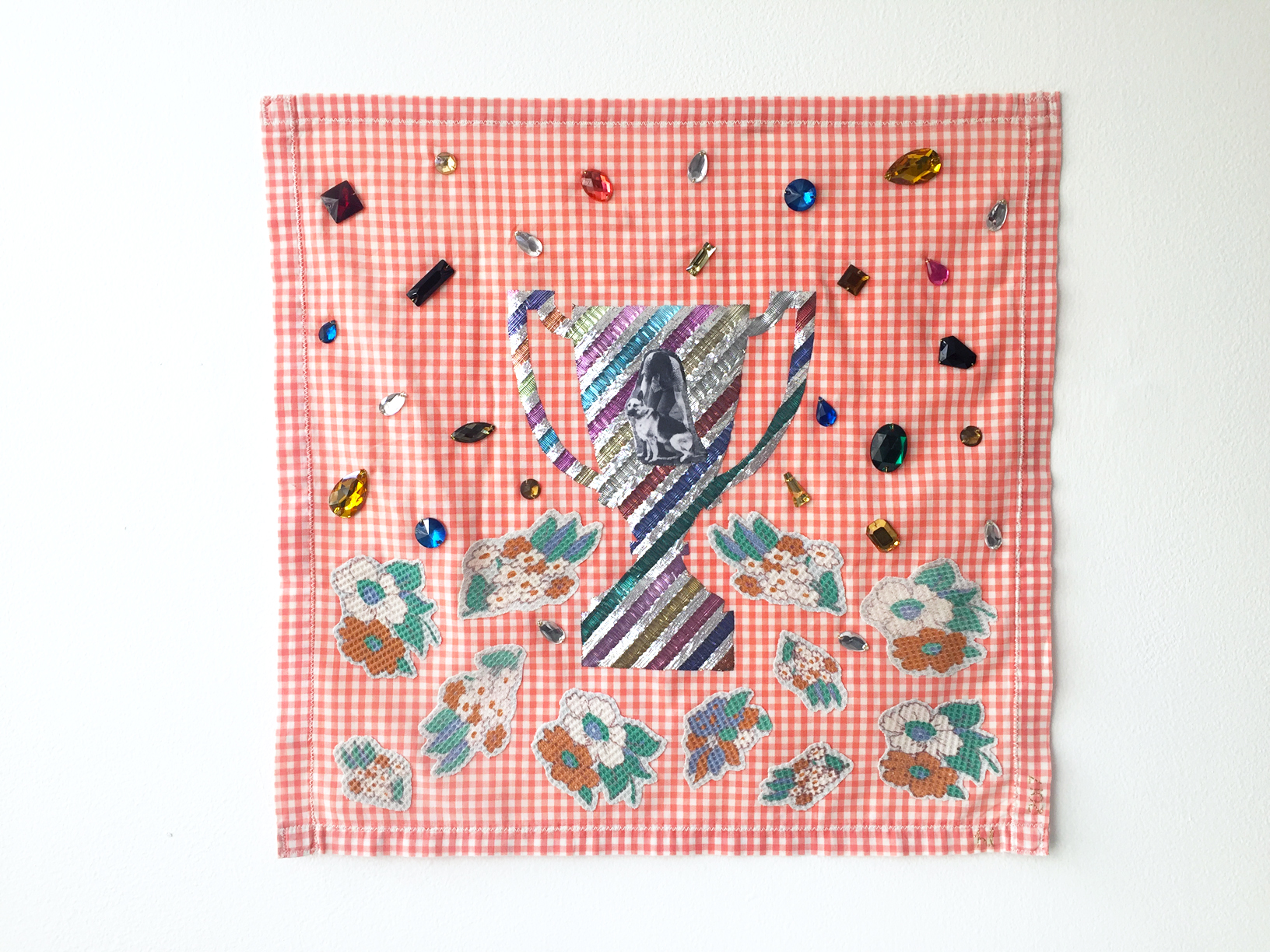 Number 1 Best Friend #2, 2017, textile object, found fabric on handmade cotton placemat, digital print on cotton, polyester, found plastic gems, 390mm x 385mm