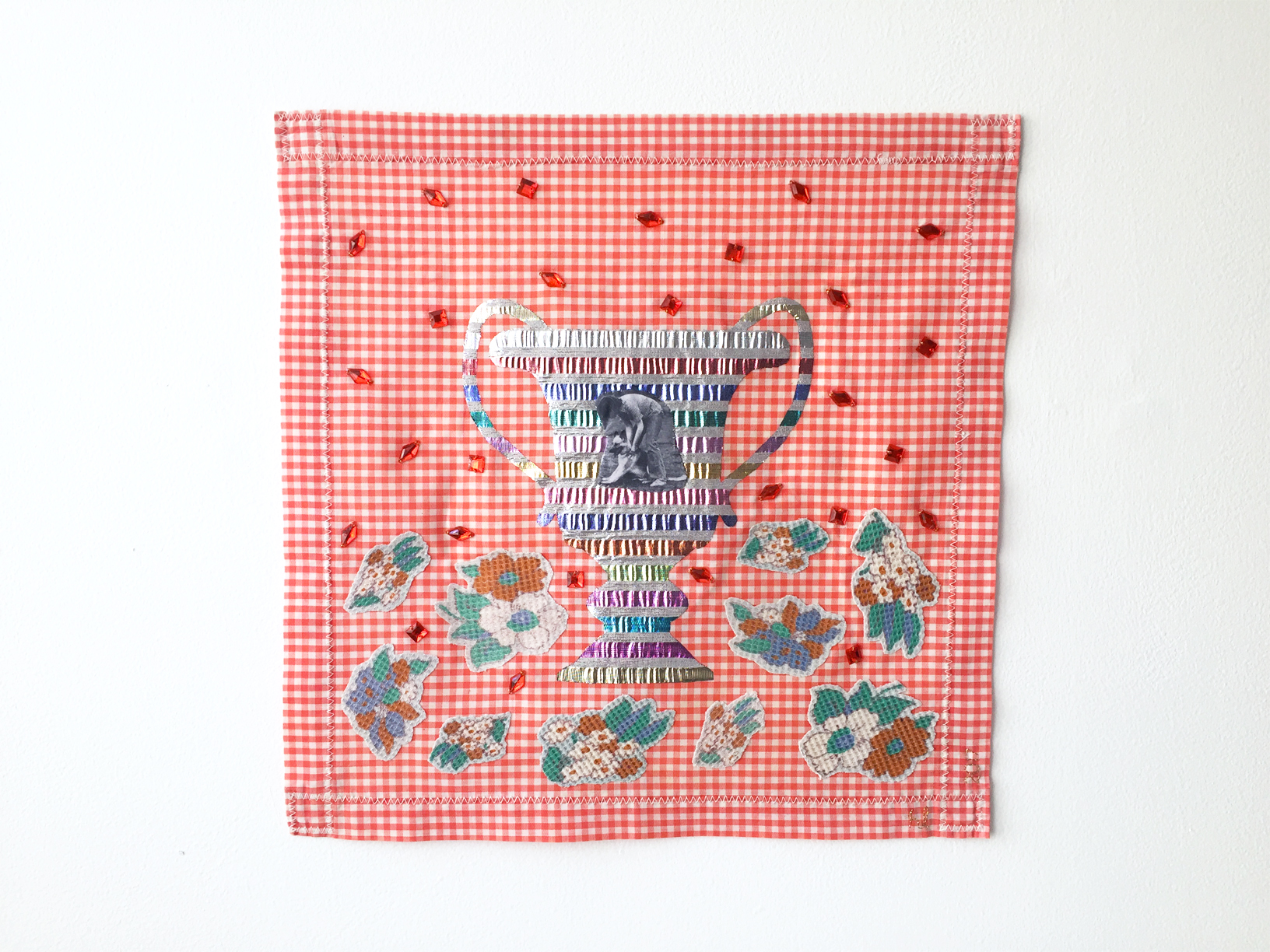 Number 1 Best Friend #3, 2017, textile object, found fabric on handmade cotton placemat, digital print on cotton, polyester, found plastic gems, 360mm x 360mm