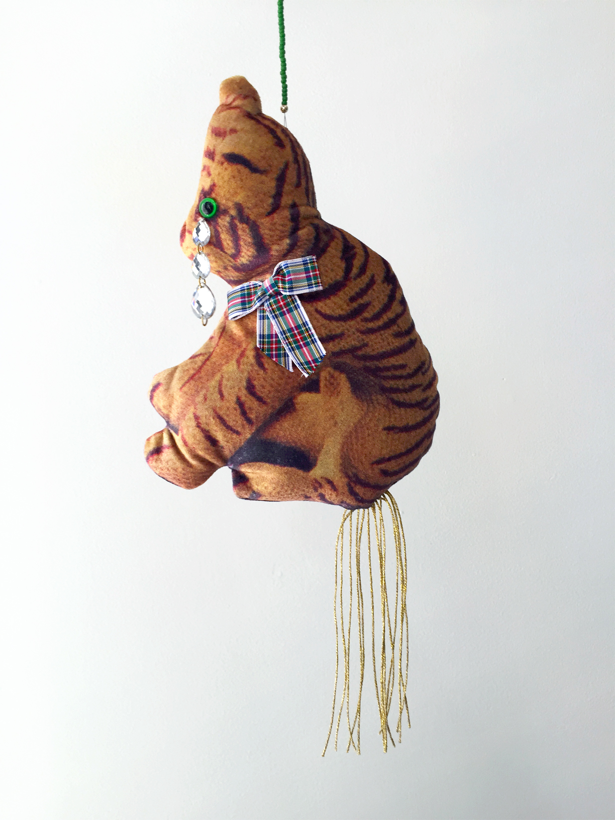 (How to) Make a Tiger, 2019, digitally printed velvet, found image, polyester, wool, glass beads