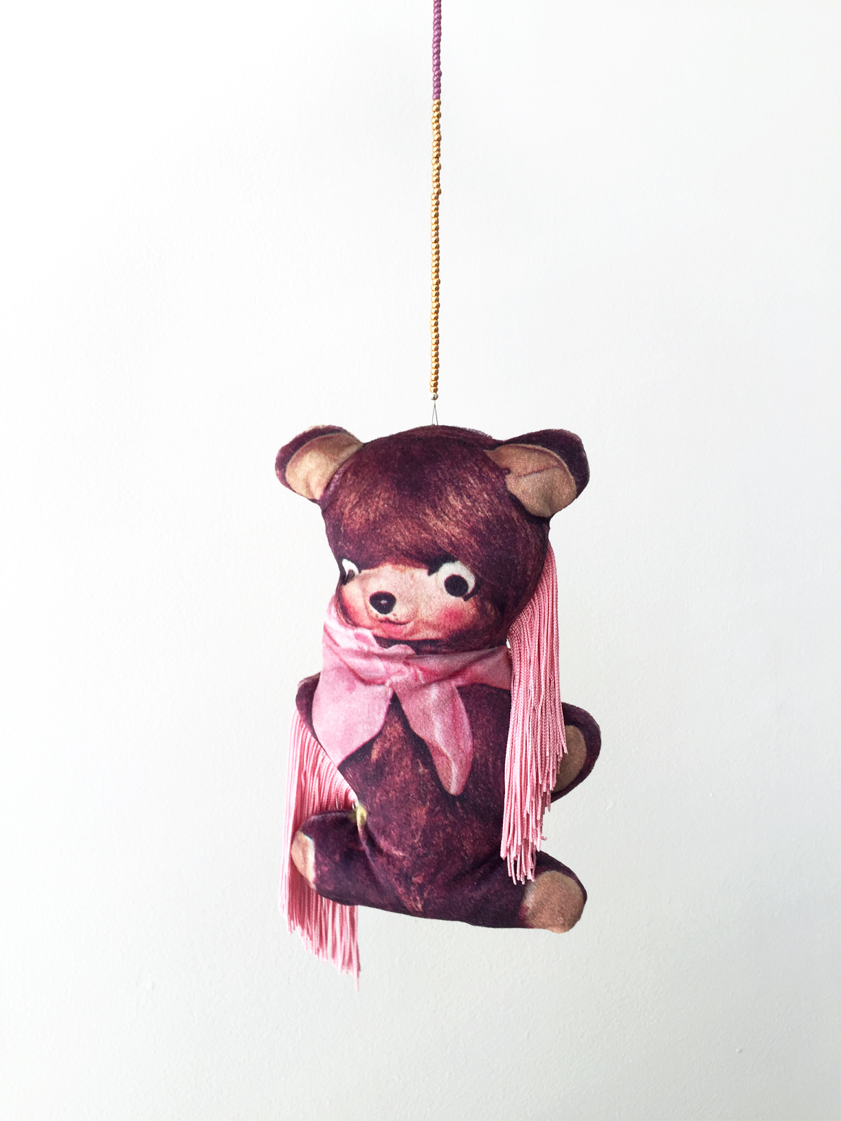 (How to) Make a Bear, 2019, digitally printed velvet, found image, polyester, wool, glass beads