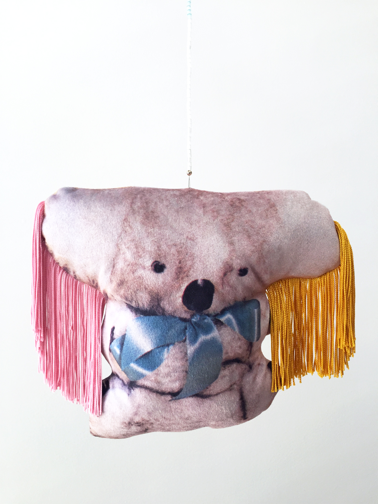 (How To) Make a Koala, 2019, digitally printed velvet, found image, polyester, wool, glass beads