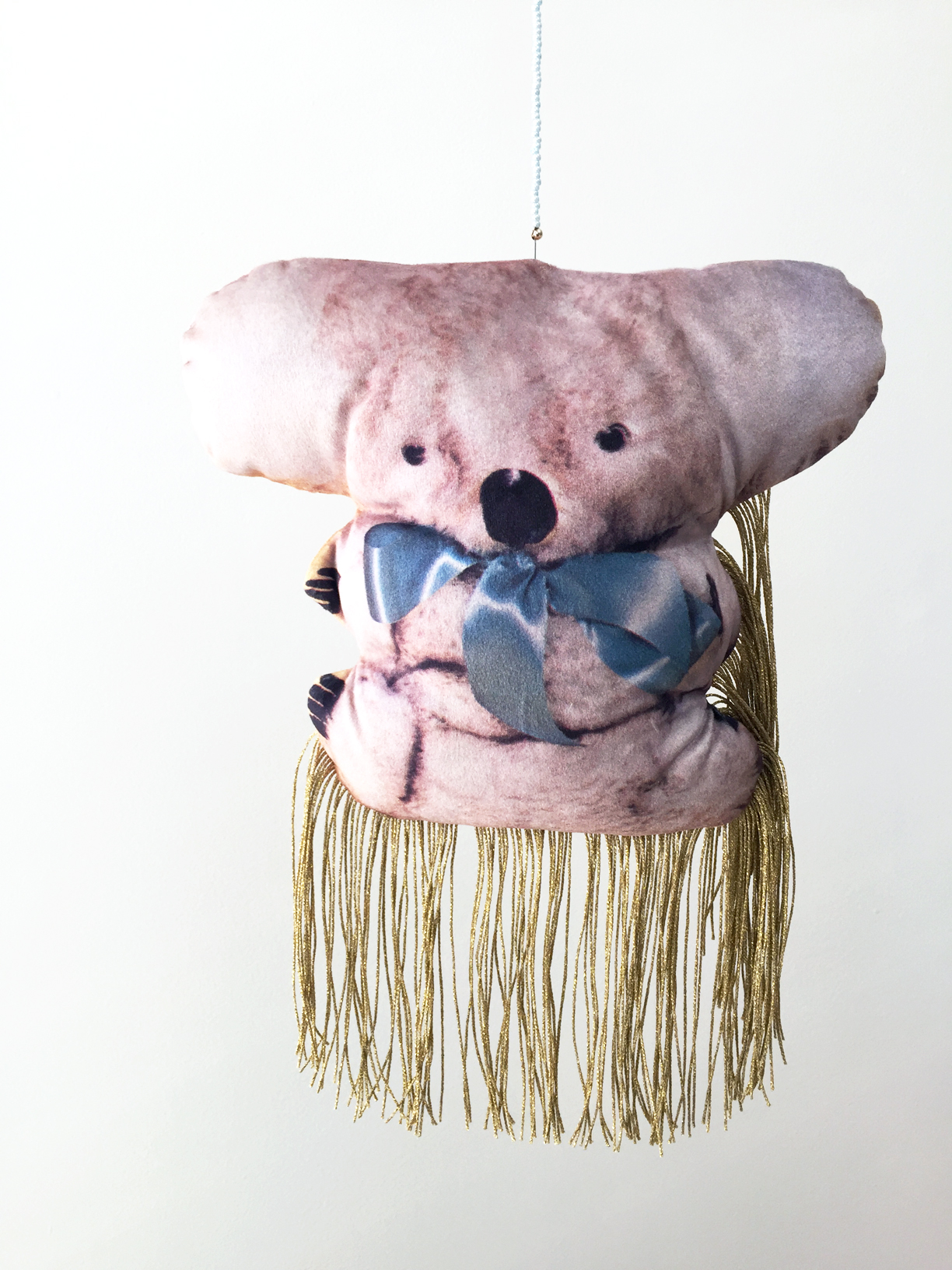 (How to) Make a Koala #2, 2019, digitally printed velvet, found image, polyester, wool, glass beads
