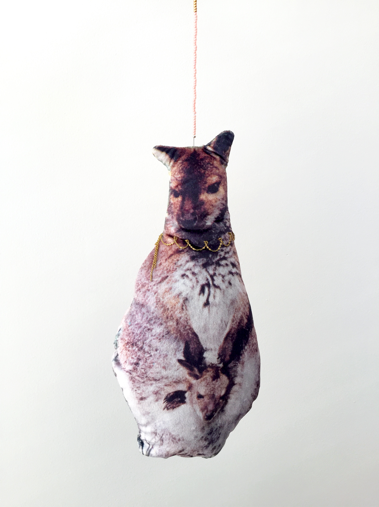 (How to) Make a Kangaroo, 2019, digitally printed velvet, found image, chain, wool, glass beads