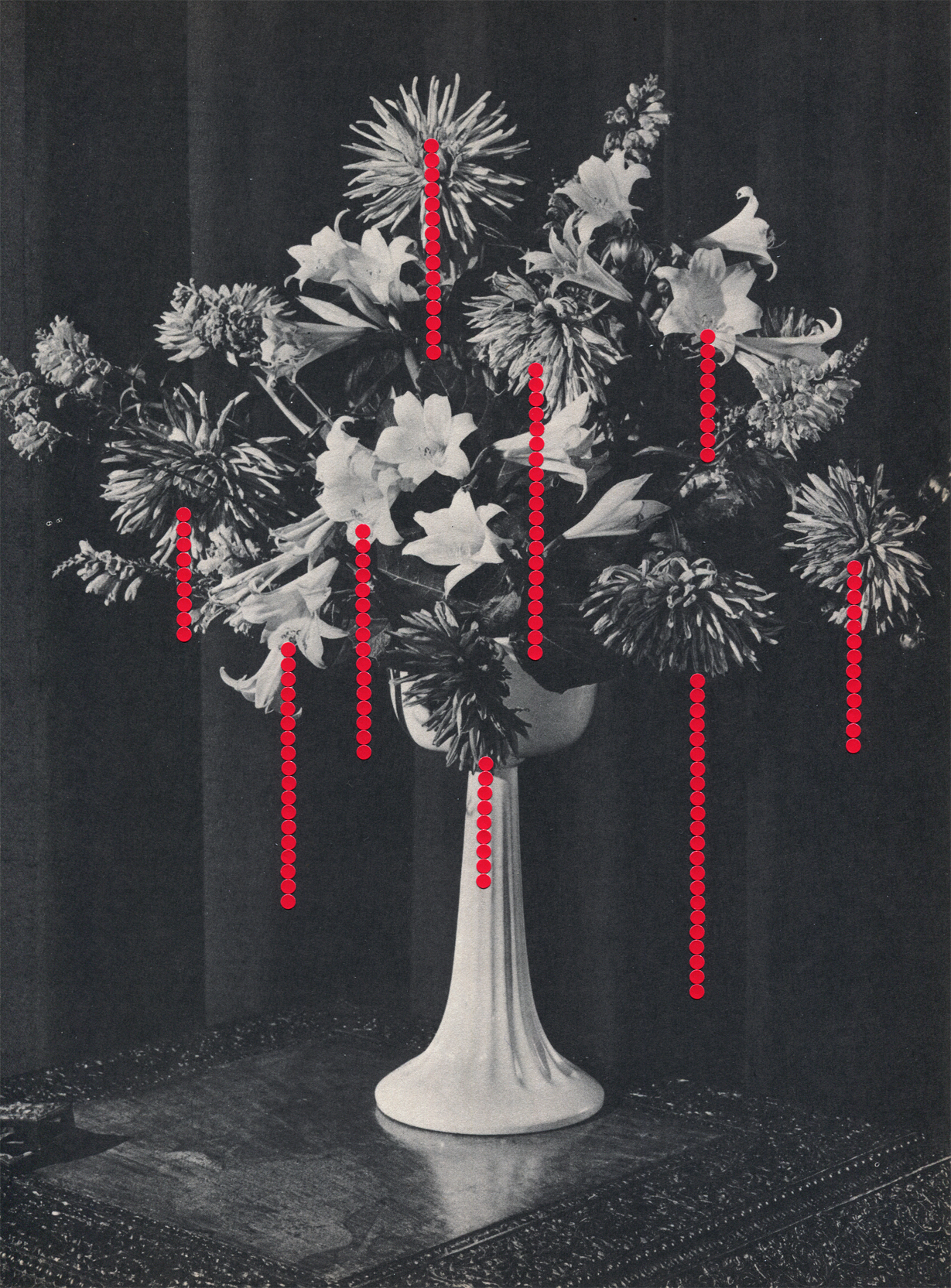 Drips #8, 2019, collage, found paper, dot stickers