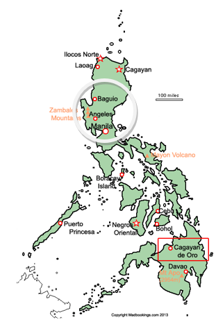 The island nation of the Philippines with Baguio and Manila shown within the circled area.