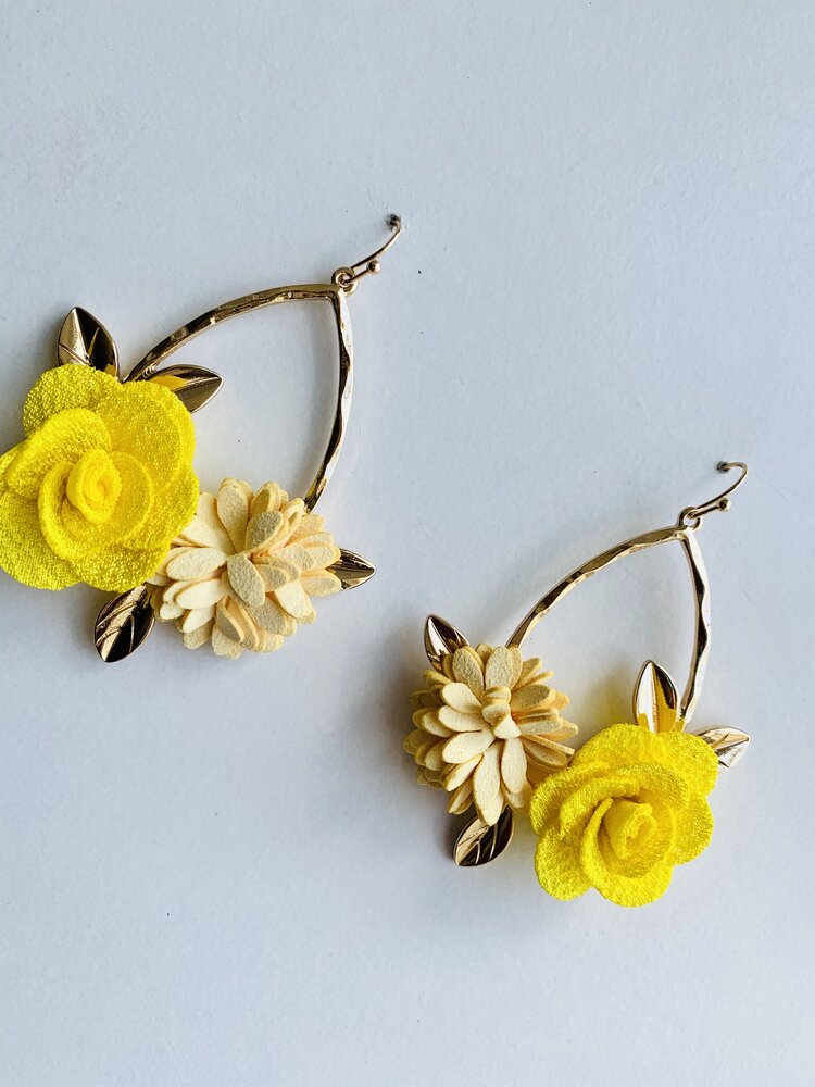 Aqua flower earrings Yellow floral design earrings Yellow flower earrings Canadian artist Aqua floral design earrings Drop earrings