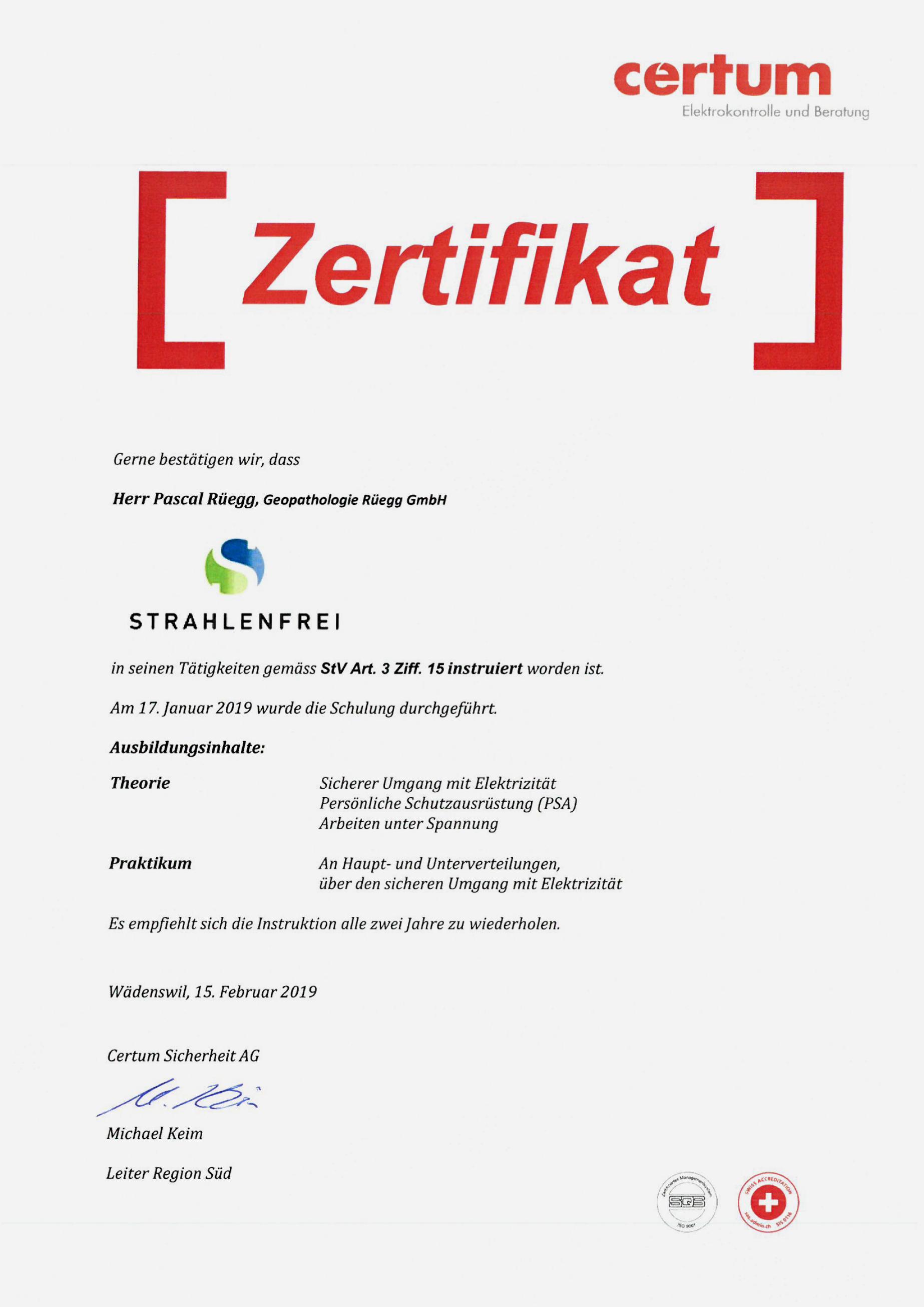 Zertifikat Strom -