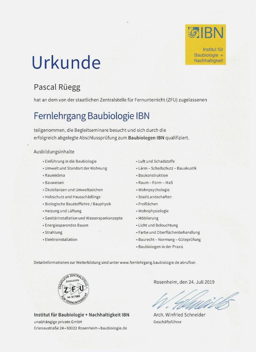 Urkunde Baubiologie -