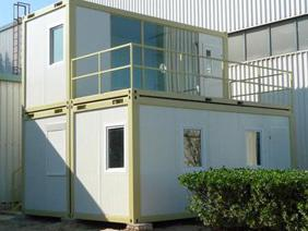 Two Storey Containers House - Modular Cabins can be stacked easily. Cabin base can be modified to balcony platform and put on top of cabin.