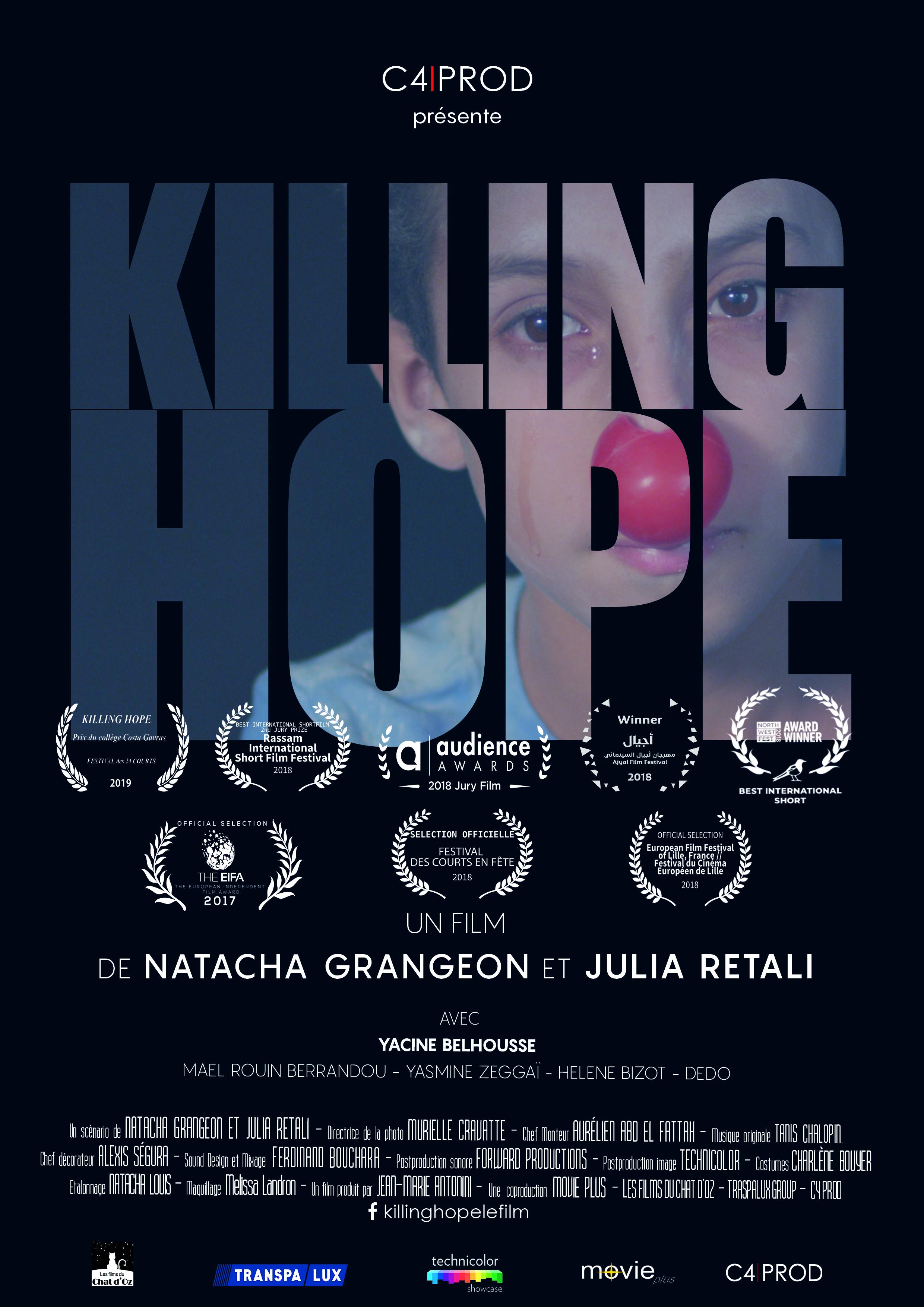Killing Hope - Film et scénario de Julia Retali et Natacha Grangeon (Film produit)Genre : DrameDurée : 17'Coproduction : Les films du Chat d'Oz , Movie plusAnas al-Basha, 24 ans, n'est pas un simple citoyen syrien. Au plein cœur d'une Alep déchirée par la guerre civile, sa seule arme est son nez rouge et le sourire des enfants qui l'entourent : il est le dernier clown d'Alep.