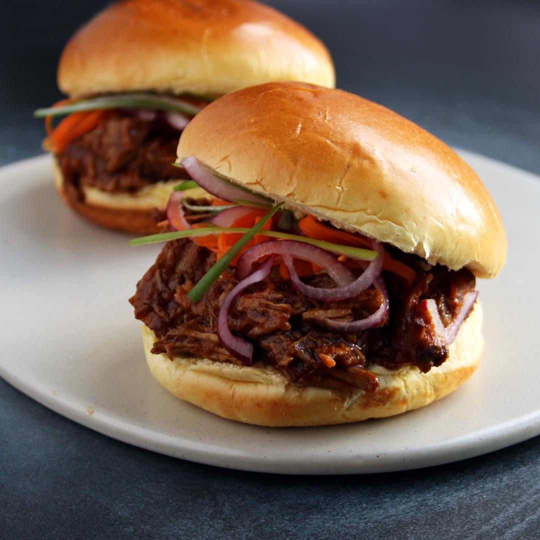 Pulled Beef on Brioche Rolls