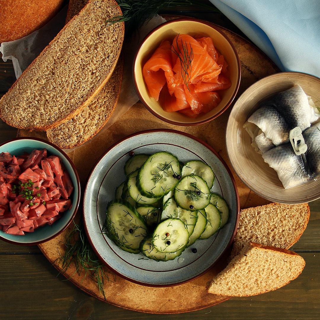 Smörgåsbord with Cucumber Salad and Beetroot Salad